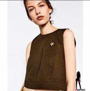 Zara Olive Sleeveless Crop Top